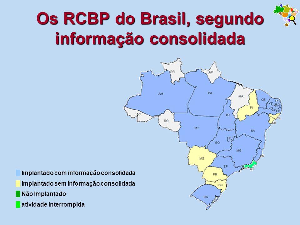 Os RCBP do Brasil, segundo informação consolidada
