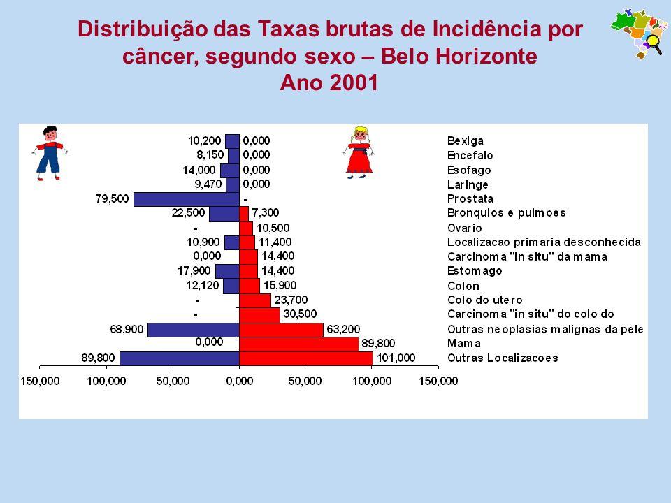 Distribuição das Taxas brutas de Incidência por câncer, segundo sexo – Belo Horizonte