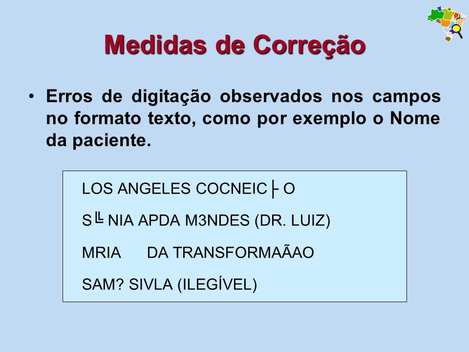 Medidas de Correção Erros de digitação observados nos campos no formato texto, como por exemplo o Nome da paciente.