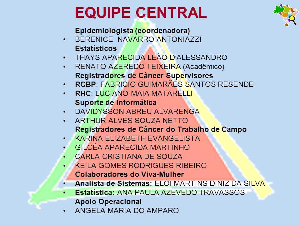 EQUIPE CENTRAL Epidemiologista (coordenadora)