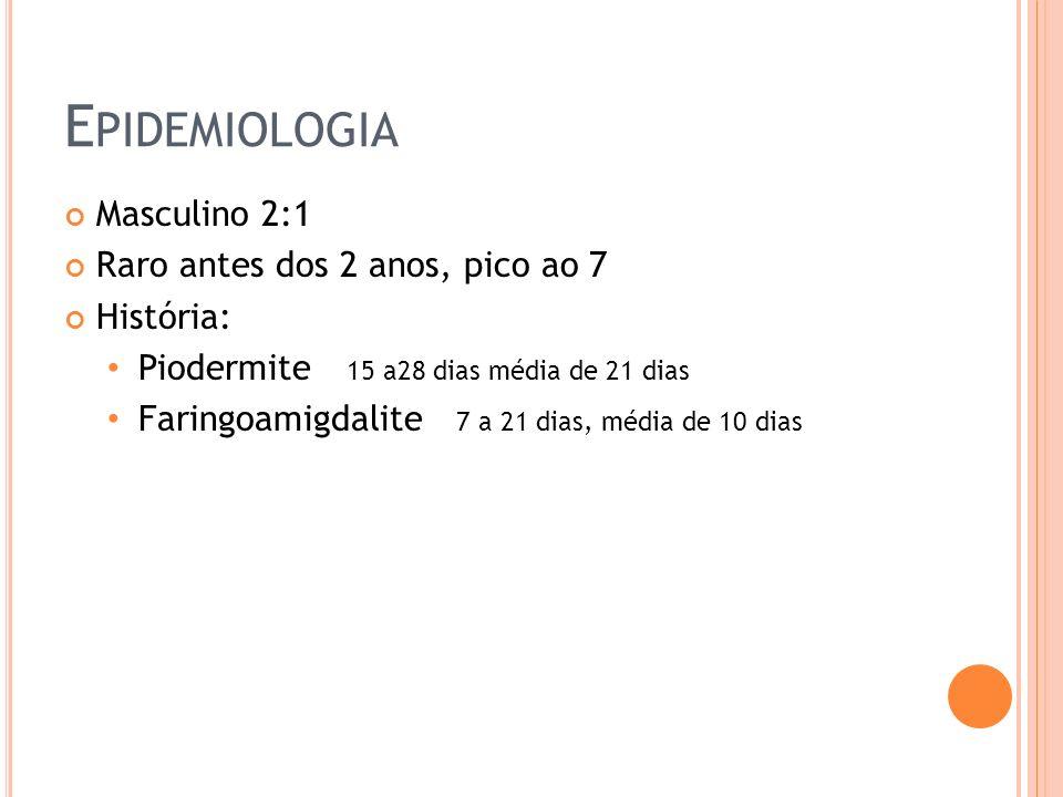 Epidemiologia Masculino 2:1 Raro antes dos 2 anos, pico ao 7 História: