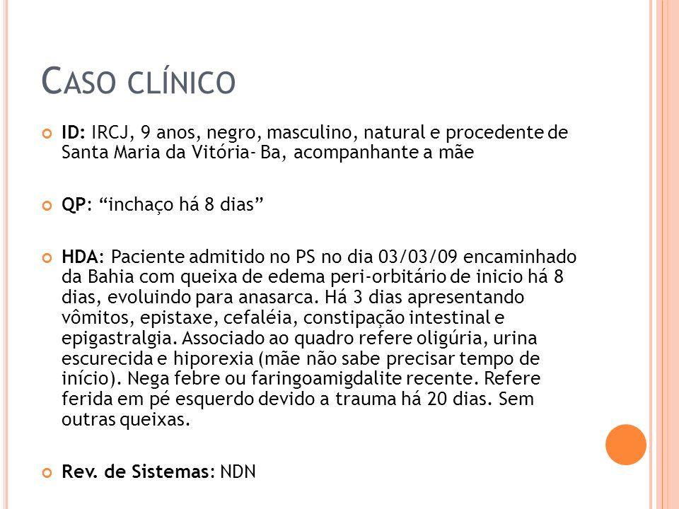 Caso clínico ID: IRCJ, 9 anos, negro, masculino, natural e procedente de Santa Maria da Vitória- Ba, acompanhante a mãe.