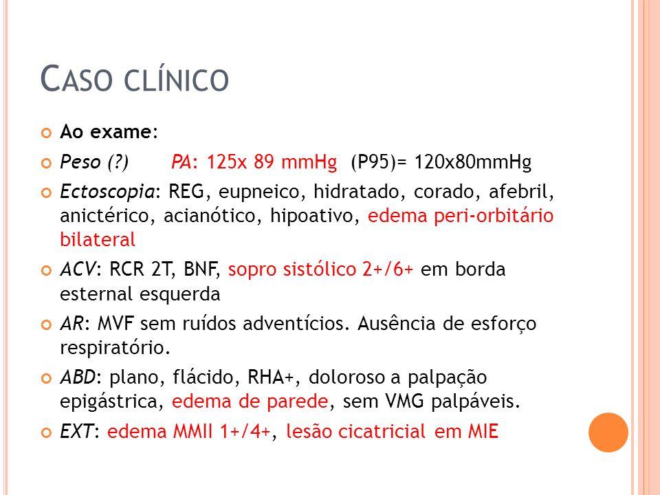 Caso clínico Ao exame: Peso ( ) PA: 125x 89 mmHg (P95)= 120x80mmHg