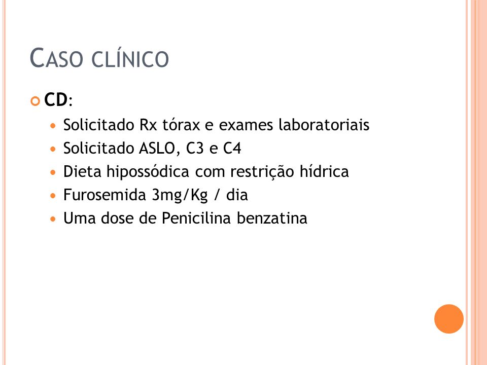 Caso clínico CD: Solicitado Rx tórax e exames laboratoriais