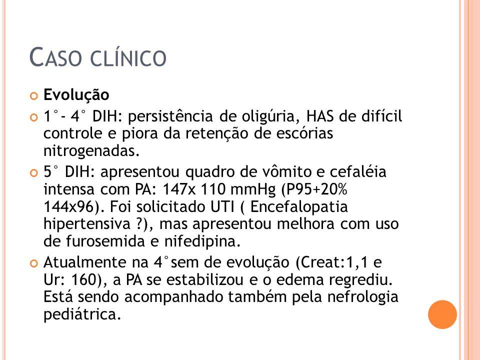 Caso clínico Evolução. 1°- 4° DIH: persistência de oligúria, HAS de difícil controle e piora da retenção de escórias nitrogenadas.