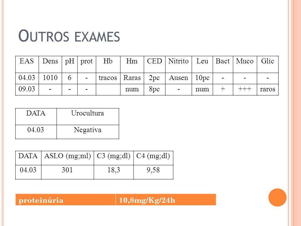 Outros exames EAS Dens pH prot Hb Hm CED Nitrito Leu Bact Muco Glic