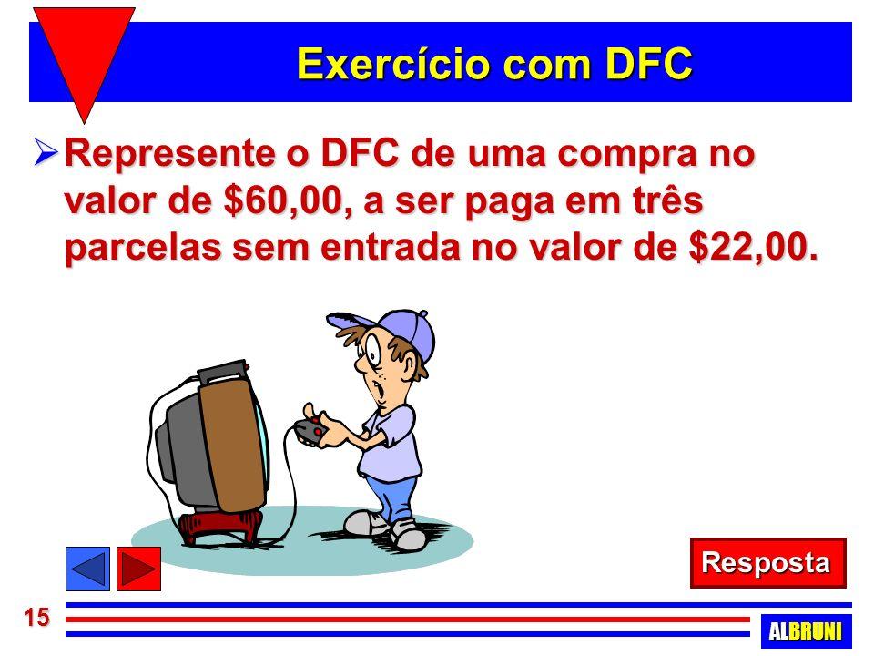 Exercício com DFC Represente o DFC de uma compra no valor de $60,00, a ser paga em três parcelas sem entrada no valor de $22,00.