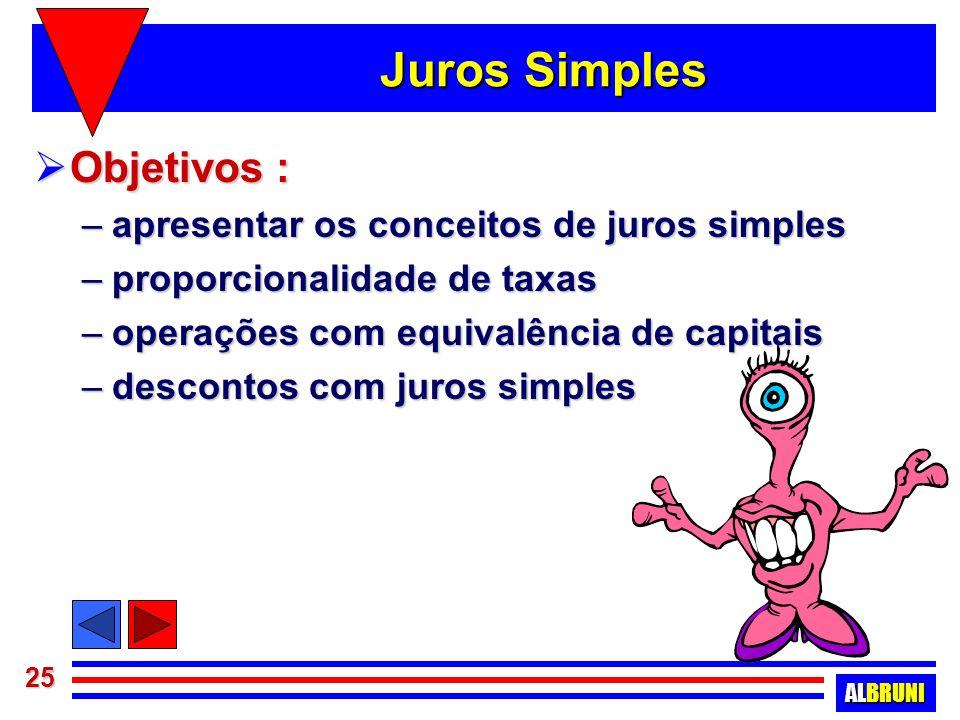 Juros Simples Objetivos : apresentar os conceitos de juros simples