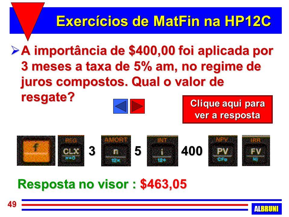 Exercícios de MatFin na HP12C