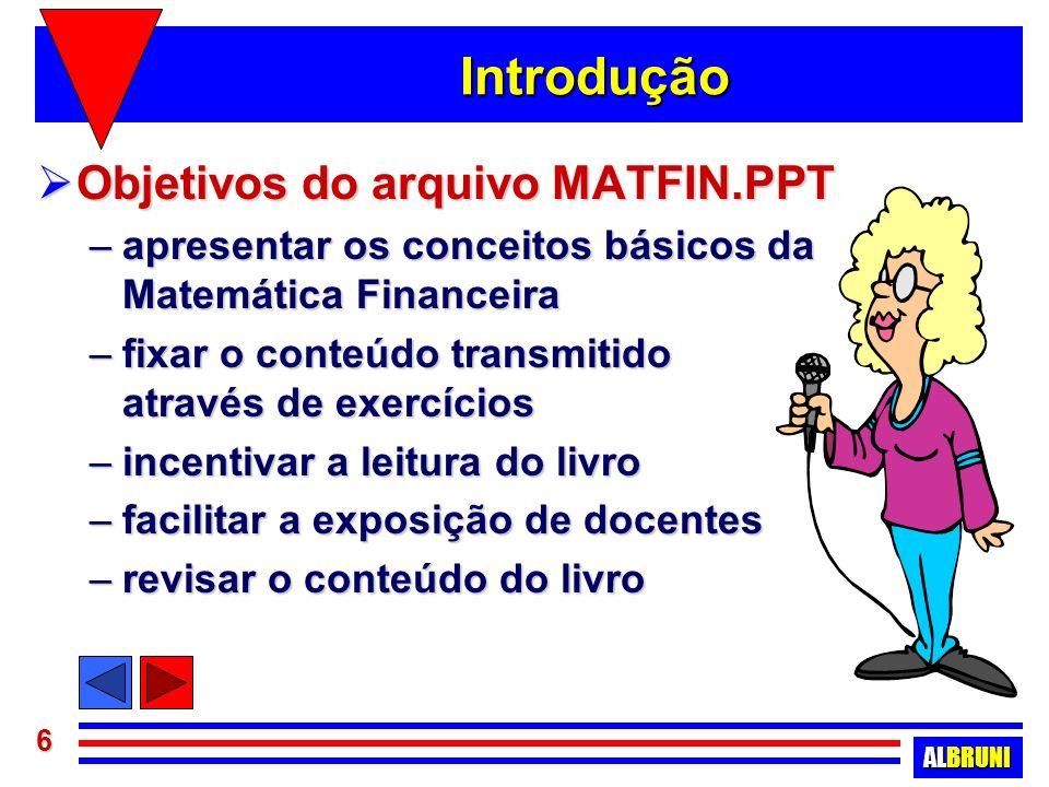 Introdução Objetivos do arquivo MATFIN.PPT