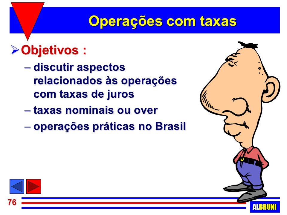 Operações com taxas Objetivos :