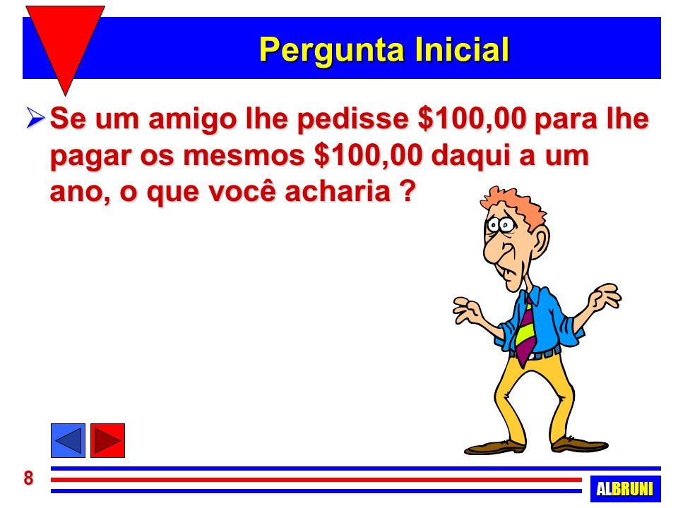Pergunta Inicial Se um amigo lhe pedisse $100,00 para lhe pagar os mesmos $100,00 daqui a um ano, o que você acharia