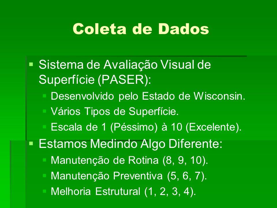 Coleta de Dados Sistema de Avaliação Visual de Superfície (PASER):