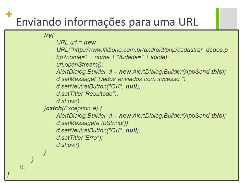 Enviando informações para uma URL
