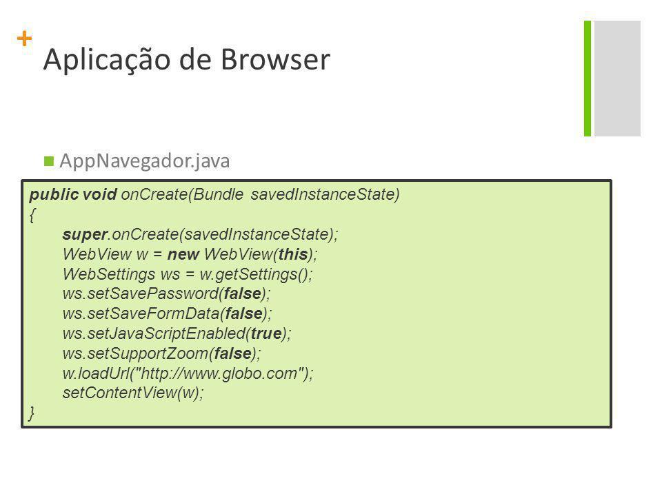 Aplicação de Browser AppNavegador.java