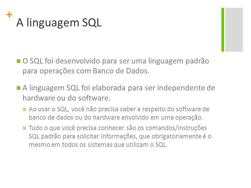 A linguagem SQL O SQL foi desenvolvido para ser uma linguagem padrão para operações com Banco de Dados.