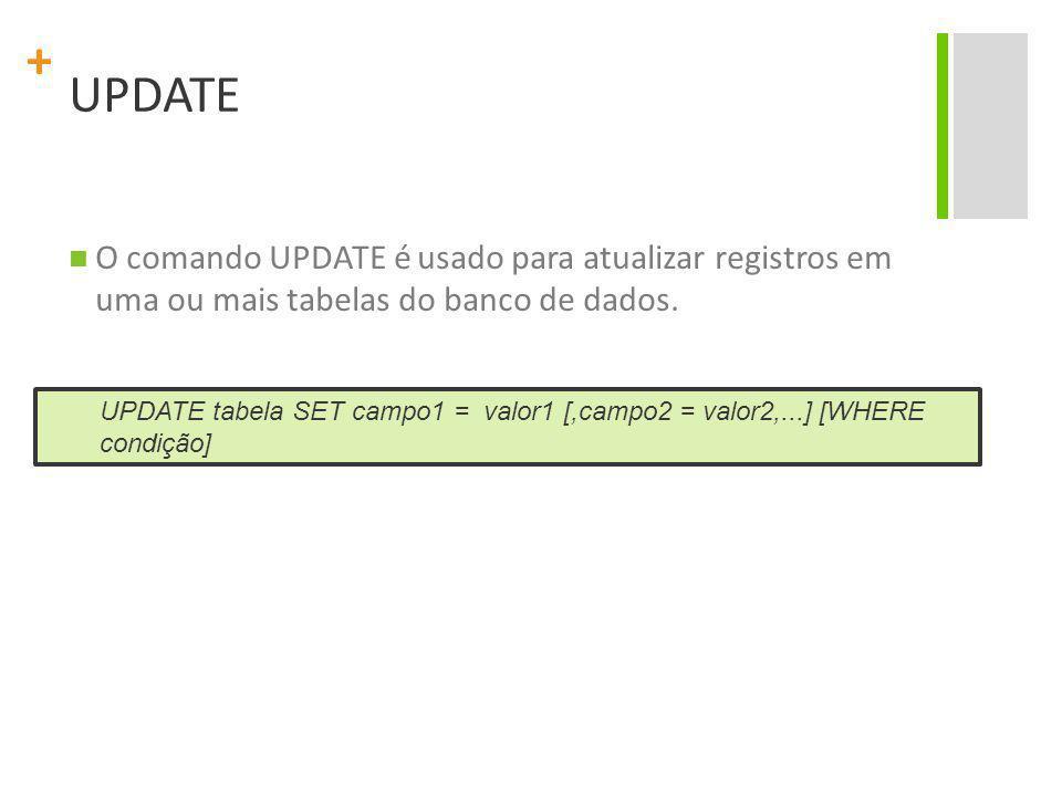 UPDATE O comando UPDATE é usado para atualizar registros em uma ou mais tabelas do banco de dados.