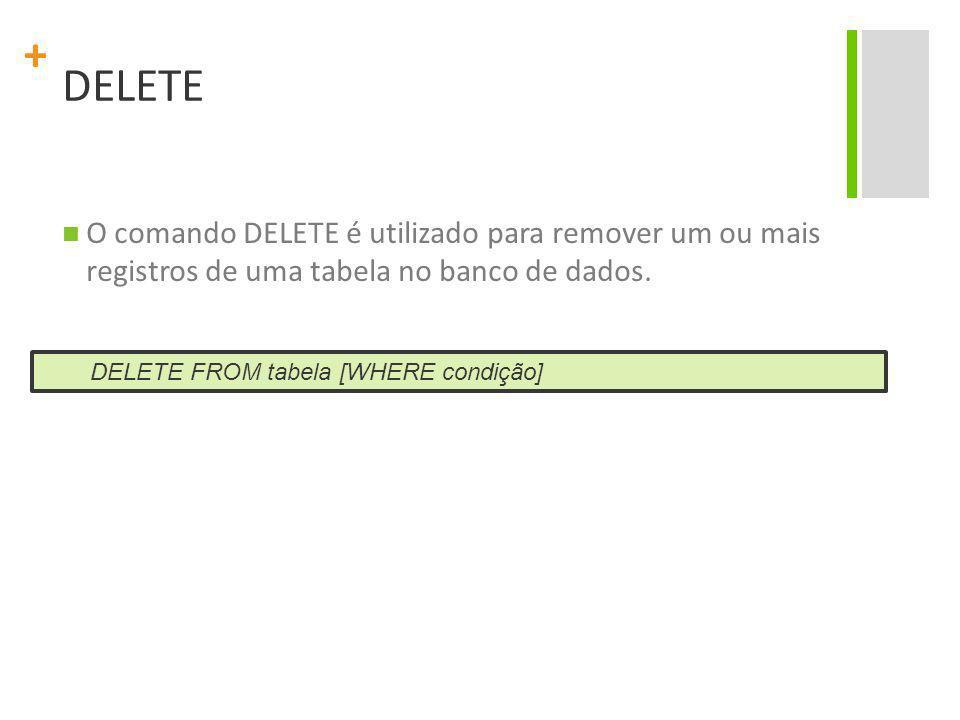 DELETE O comando DELETE é utilizado para remover um ou mais registros de uma tabela no banco de dados.