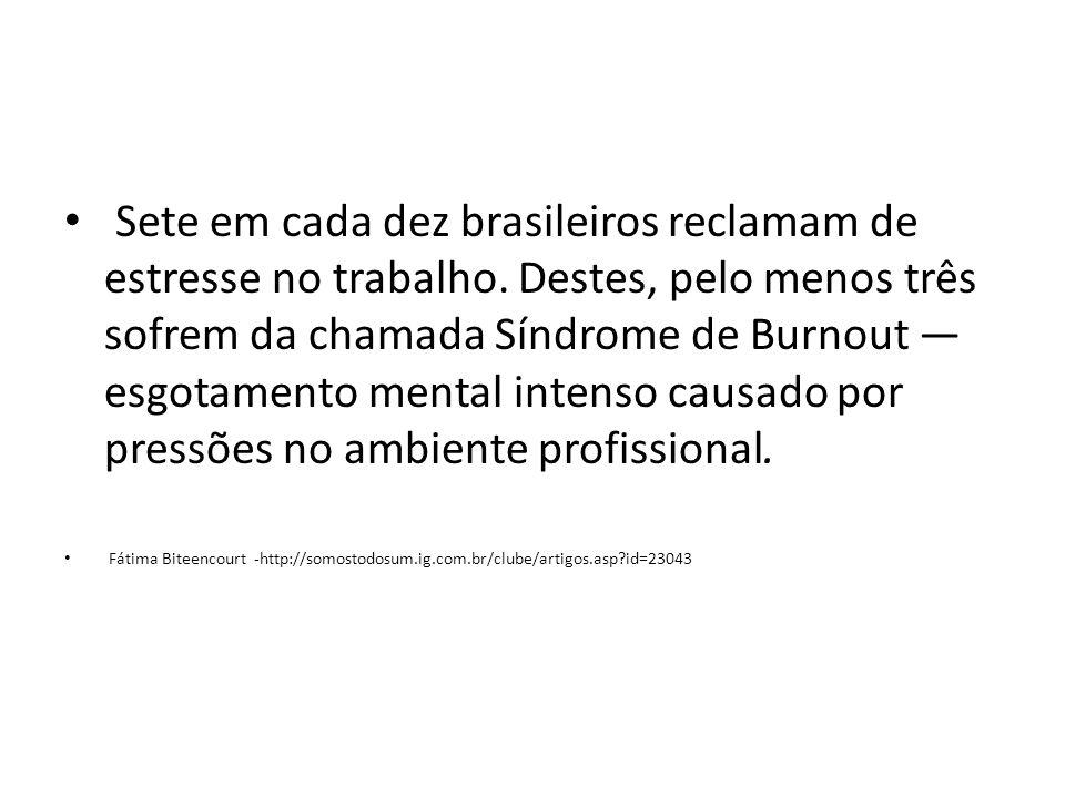 Sete em cada dez brasileiros reclamam de estresse no trabalho