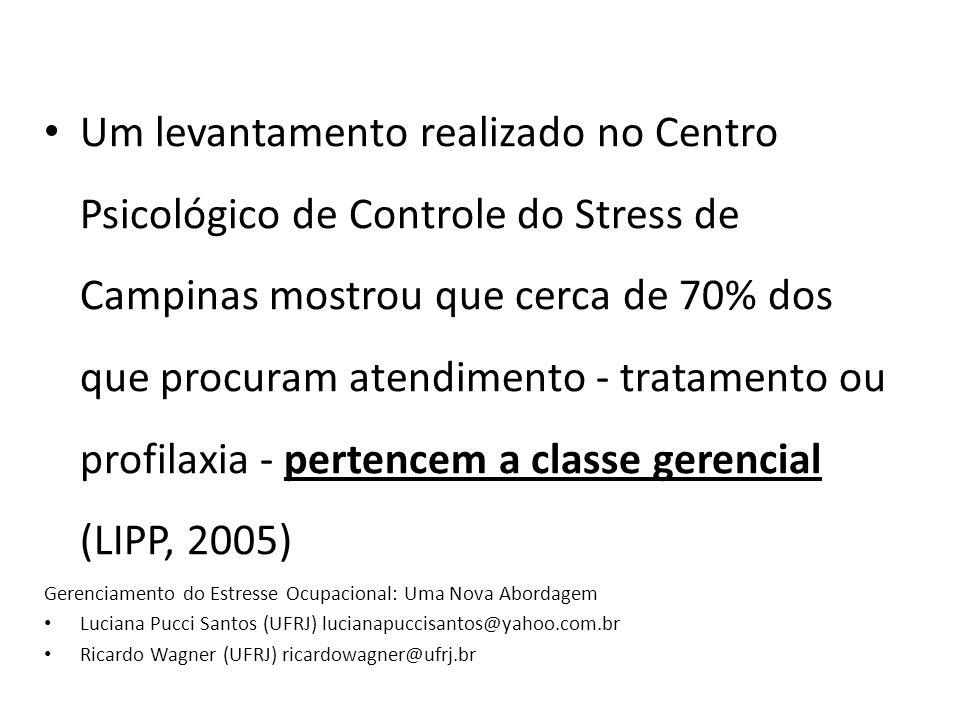 Um levantamento realizado no Centro Psicológico de Controle do Stress de Campinas mostrou que cerca de 70% dos que procuram atendimento - tratamento ou profilaxia - pertencem a classe gerencial (LIPP, 2005)