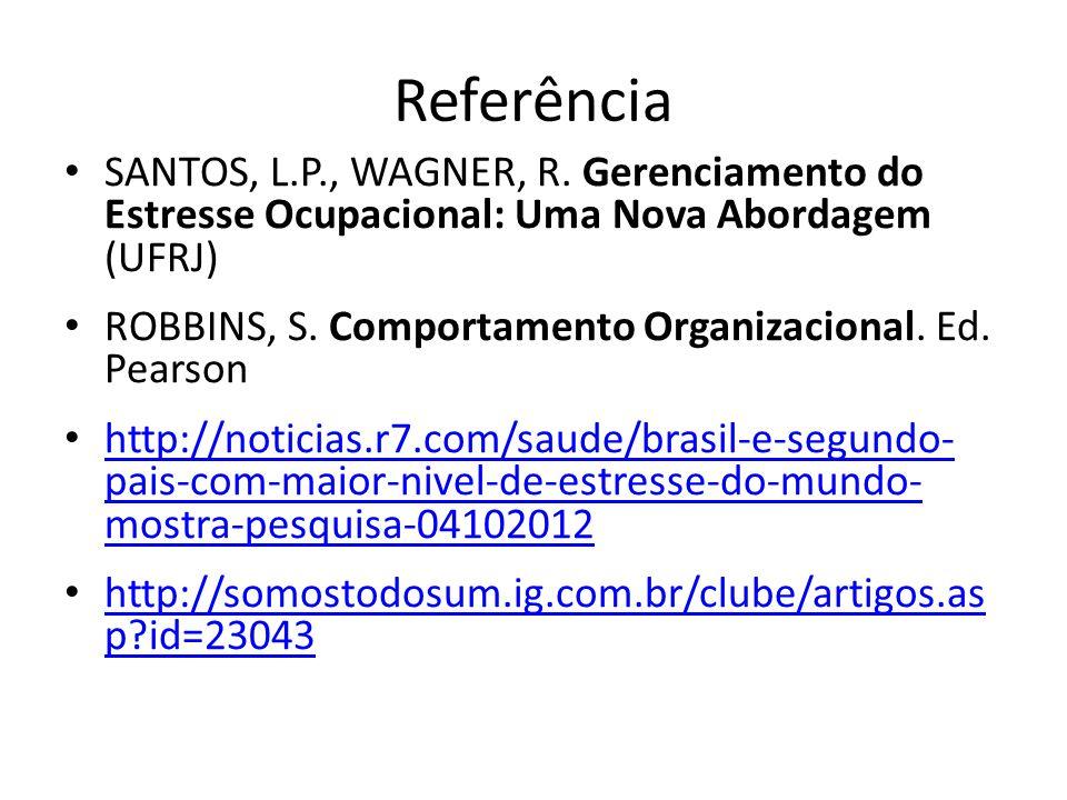 Referência SANTOS, L.P., WAGNER, R. Gerenciamento do Estresse Ocupacional: Uma Nova Abordagem (UFRJ)