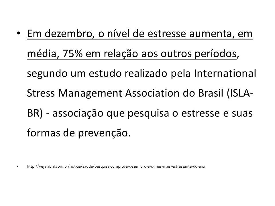 Em dezembro, o nível de estresse aumenta, em média, 75% em relação aos outros períodos, segundo um estudo realizado pela International Stress Management Association do Brasil (ISLA-BR) - associação que pesquisa o estresse e suas formas de prevenção.