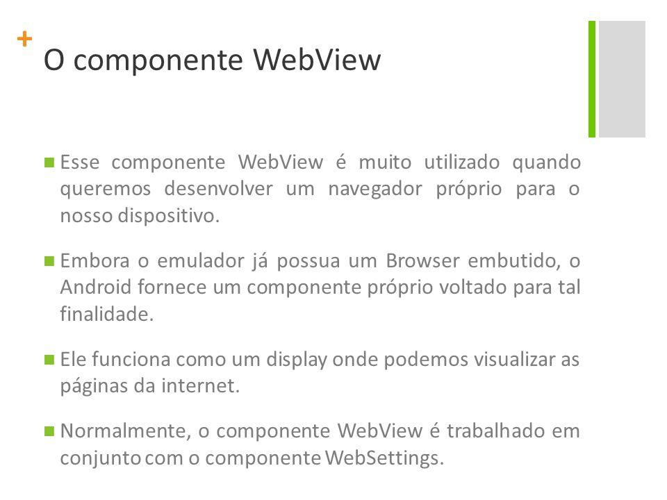 O componente WebView Esse componente WebView é muito utilizado quando queremos desenvolver um navegador próprio para o nosso dispositivo.