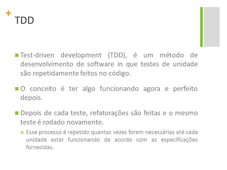 TDD Test-driven development (TDD), é um método de desenvolvimento de software in que testes de unidade são repetidamente feitos no código.