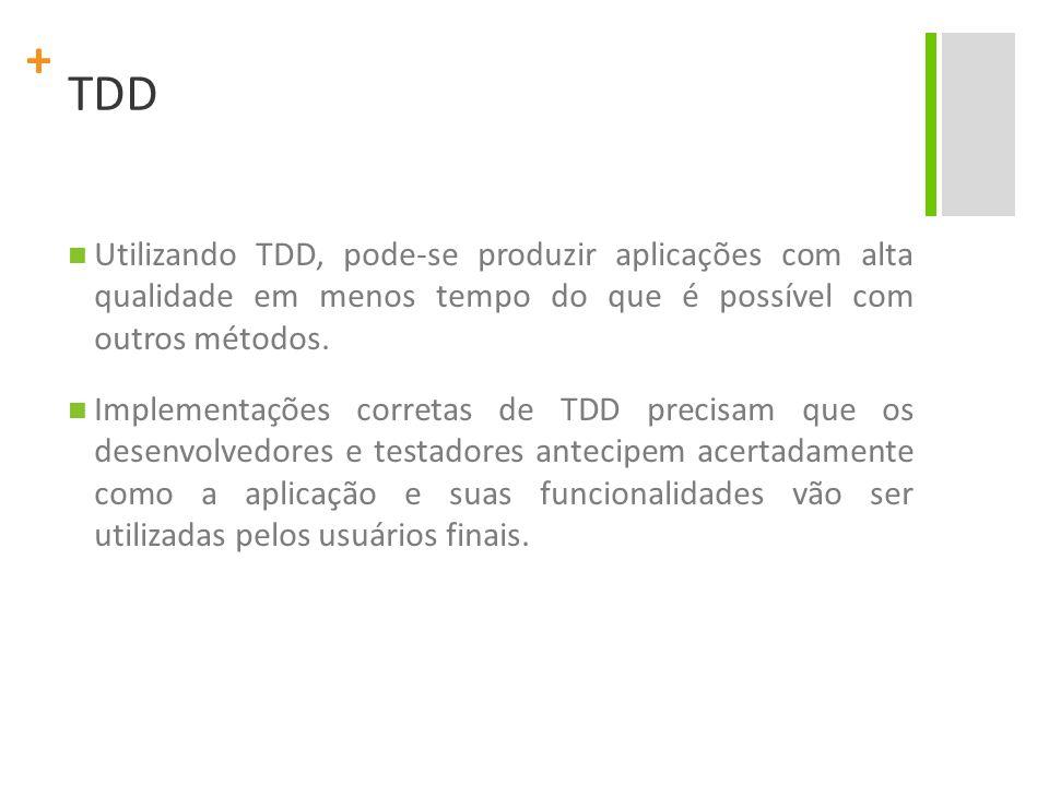 TDD Utilizando TDD, pode-se produzir aplicações com alta qualidade em menos tempo do que é possível com outros métodos.