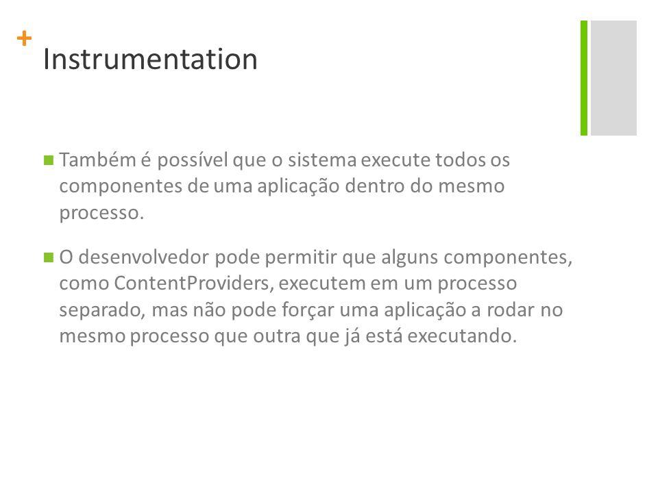 Instrumentation Também é possível que o sistema execute todos os componentes de uma aplicação dentro do mesmo processo.