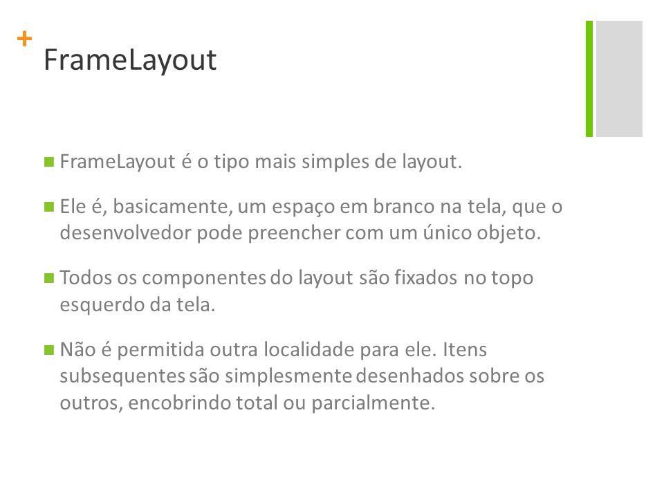 FrameLayout FrameLayout é o tipo mais simples de layout.