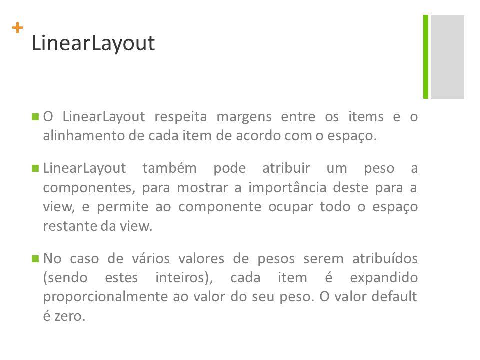 LinearLayout O LinearLayout respeita margens entre os items e o alinhamento de cada item de acordo com o espaço.
