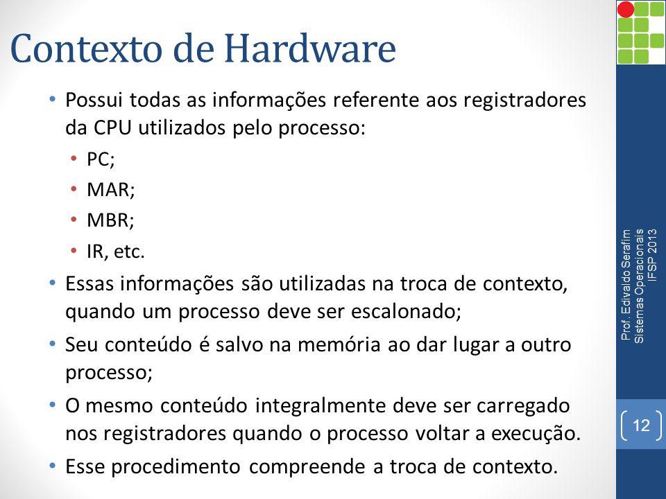 Contexto de Hardware Possui todas as informações referente aos registradores da CPU utilizados pelo processo: