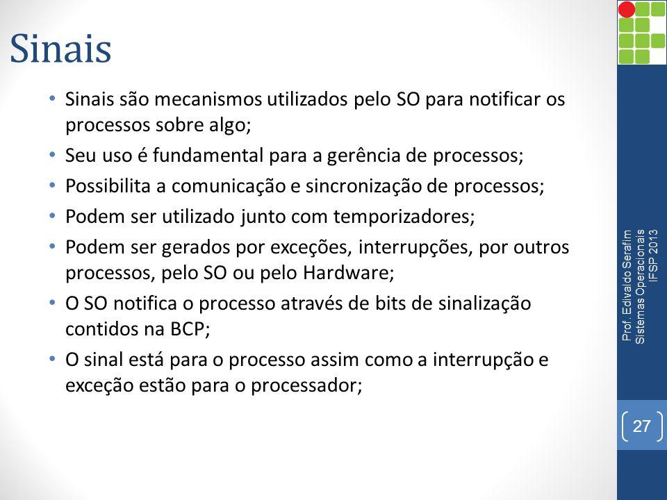 Sinais Sinais são mecanismos utilizados pelo SO para notificar os processos sobre algo; Seu uso é fundamental para a gerência de processos;