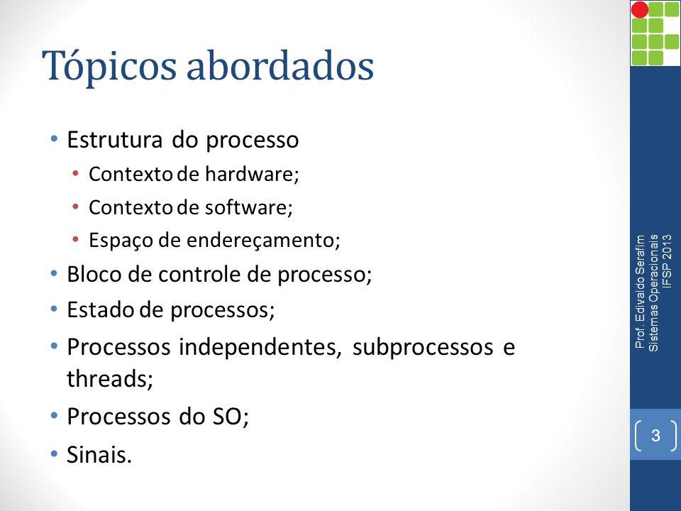Tópicos abordados Estrutura do processo