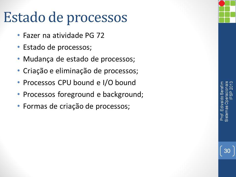 Estado de processos Fazer na atividade PG 72 Estado de processos;