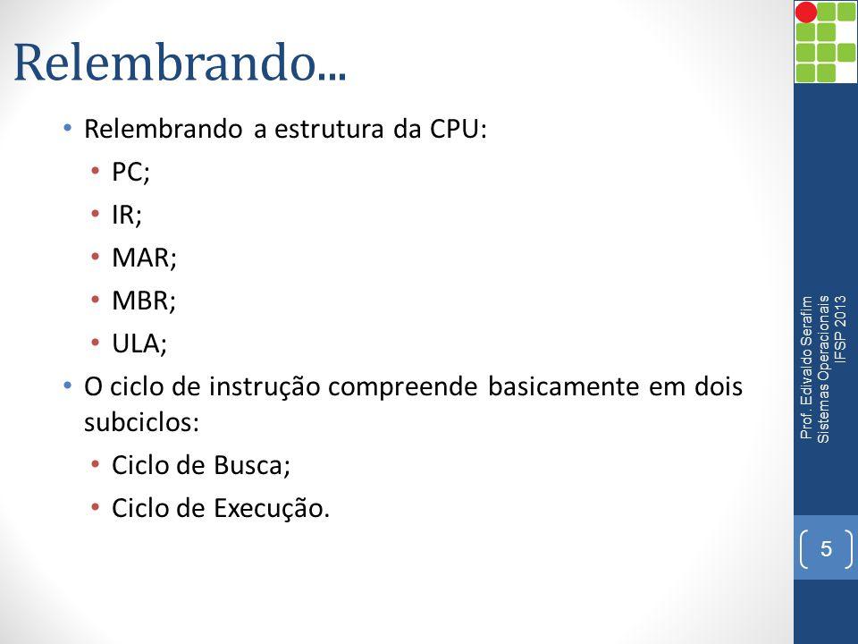 Relembrando... Relembrando a estrutura da CPU: PC; IR; MAR; MBR; ULA;
