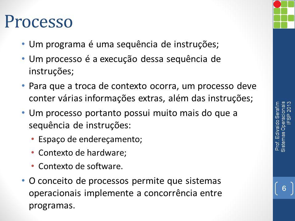Processo Um programa é uma sequência de instruções;