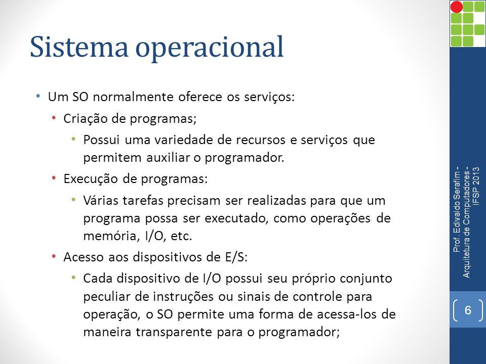 Sistema operacional Um SO normalmente oferece os serviços: