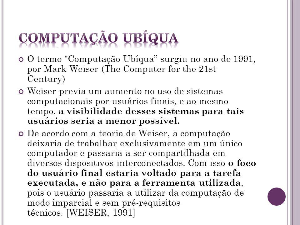 Computação Ubíqua O termo Computação Ubíqua surgiu no ano de 1991, por Mark Weiser (The Computer for the 21st Century)