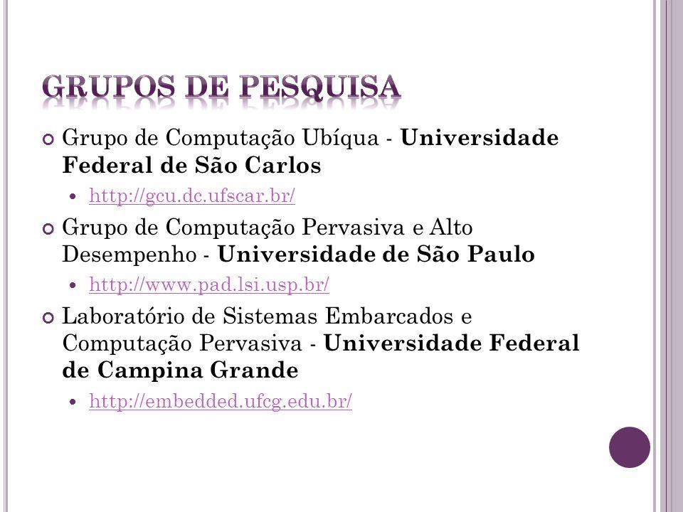 Grupos de Pesquisa Grupo de Computação Ubíqua - Universidade Federal de São Carlos. http://gcu.dc.ufscar.br/