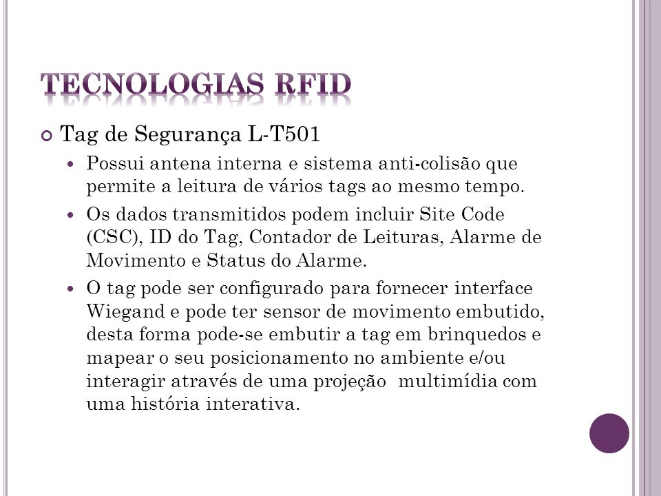 Tecnologias RFID Tag de Segurança L-T501