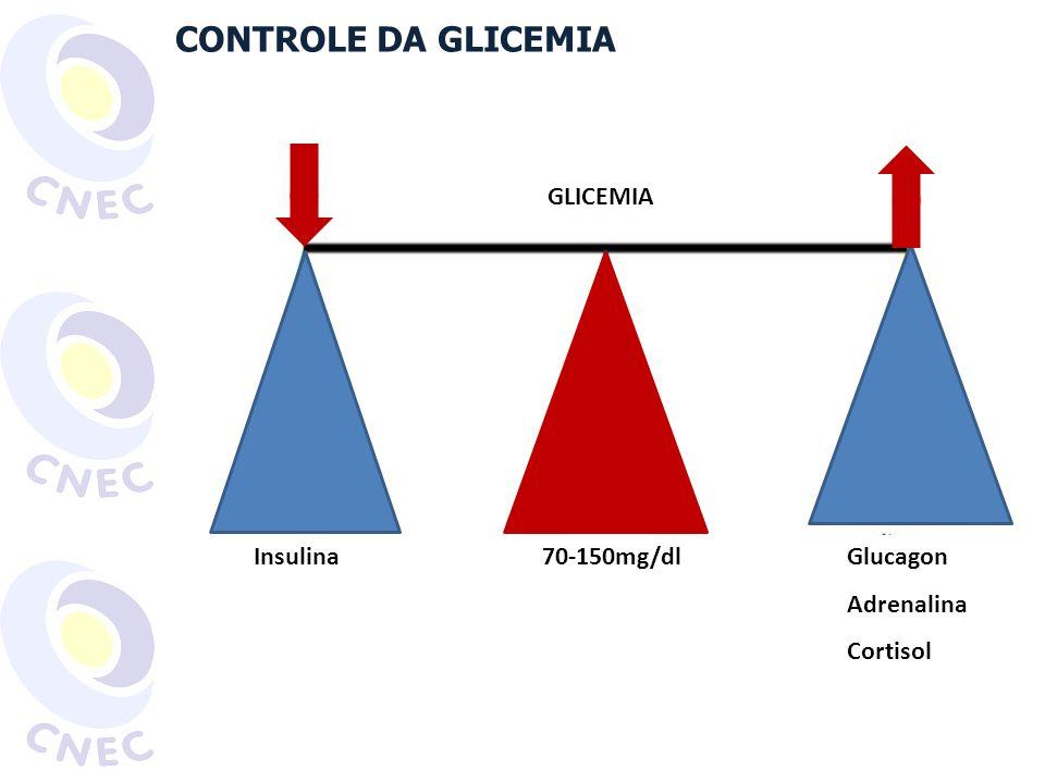 CONTROLE DA GLICEMIA GLICEMIA Insulina 70-150mg/dl Glucagon Adrenalina