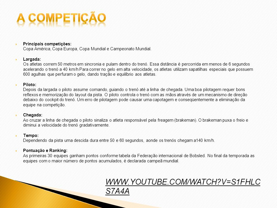 A competição WWW.YOUTUBE.COM/WATCH V=S1FHLCS7A4A