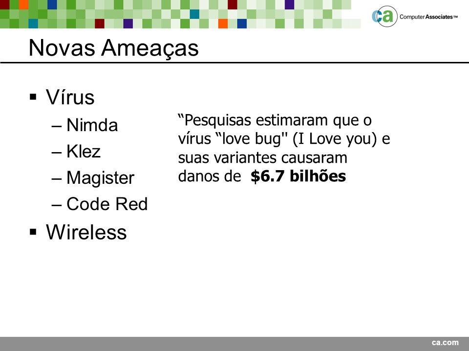 Novas Ameaças Vírus Wireless Nimda Klez Magister Code Red