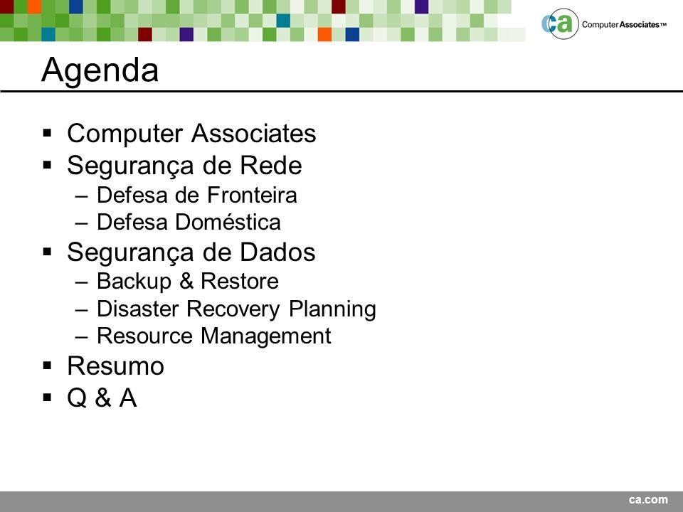 Agenda Computer Associates Segurança de Rede Segurança de Dados Resumo