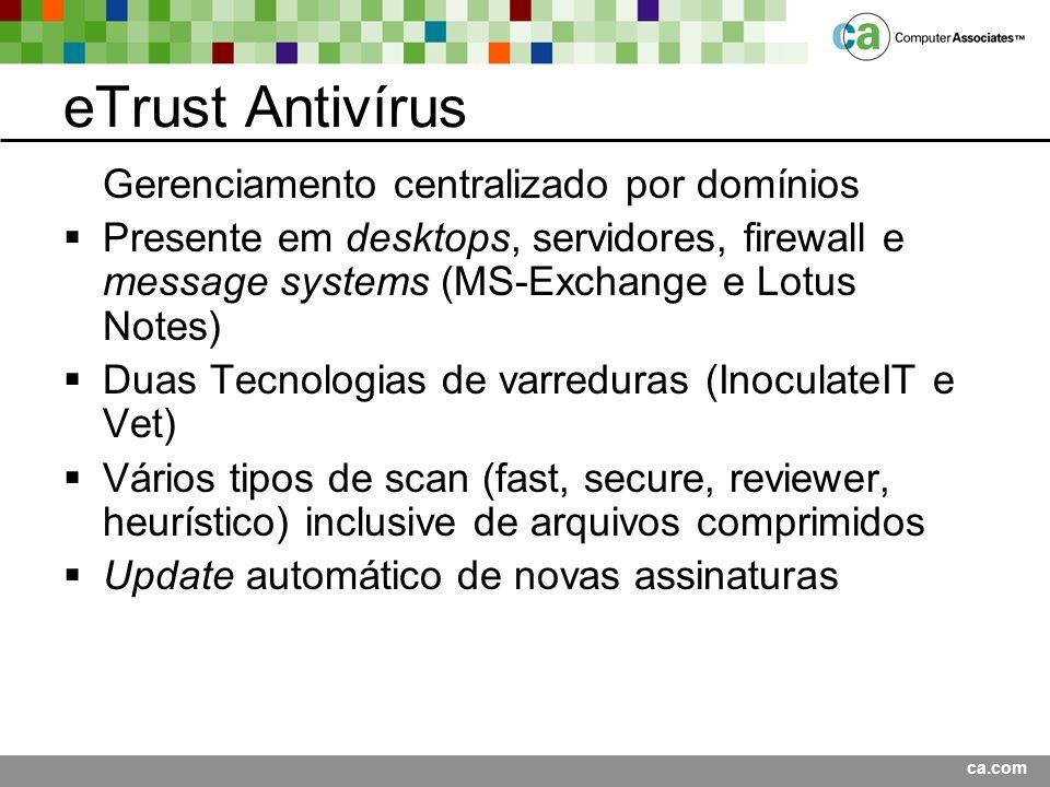 eTrust Antivírus Gerenciamento centralizado por domínios