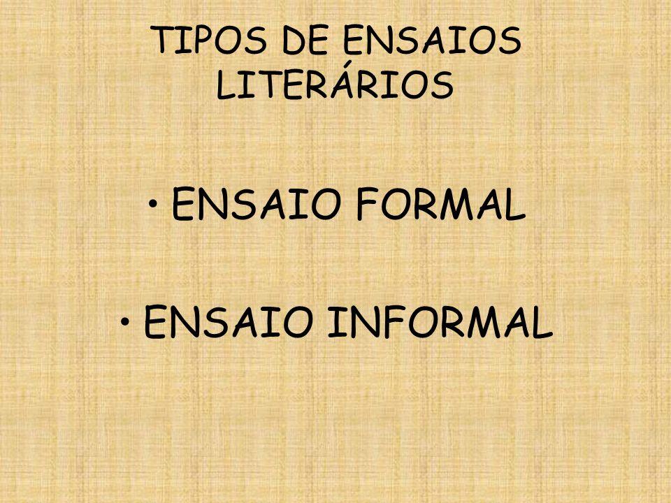 TIPOS DE ENSAIOS LITERÁRIOS
