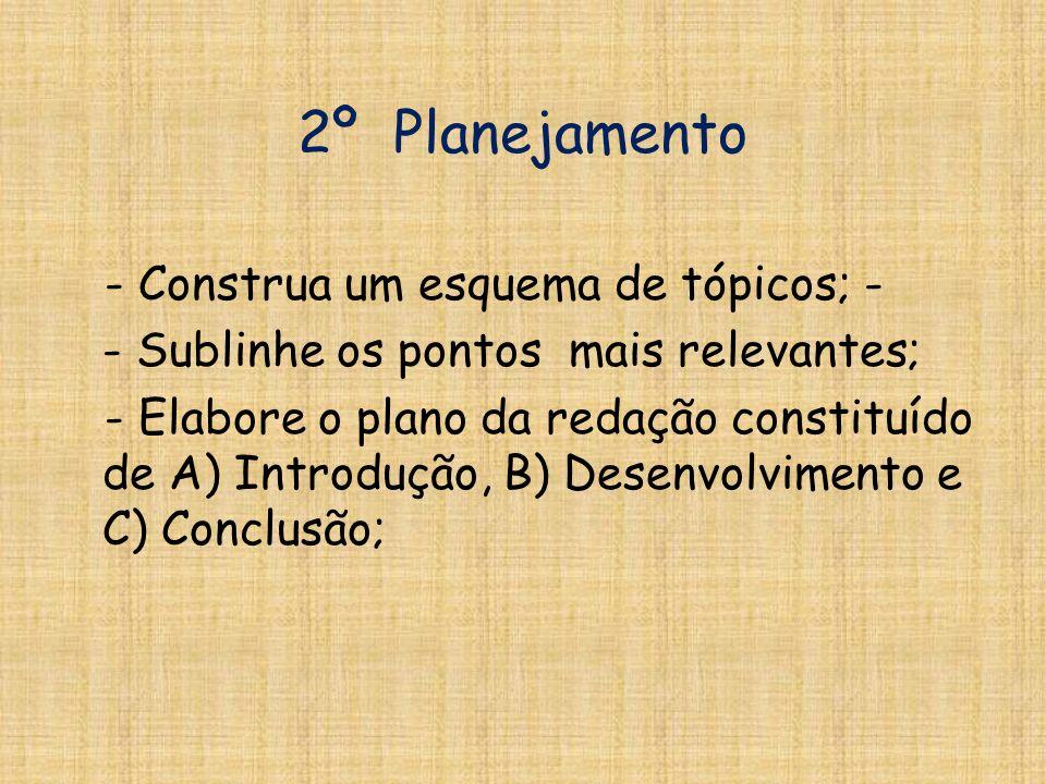 2º Planejamento - Construa um esquema de tópicos; -