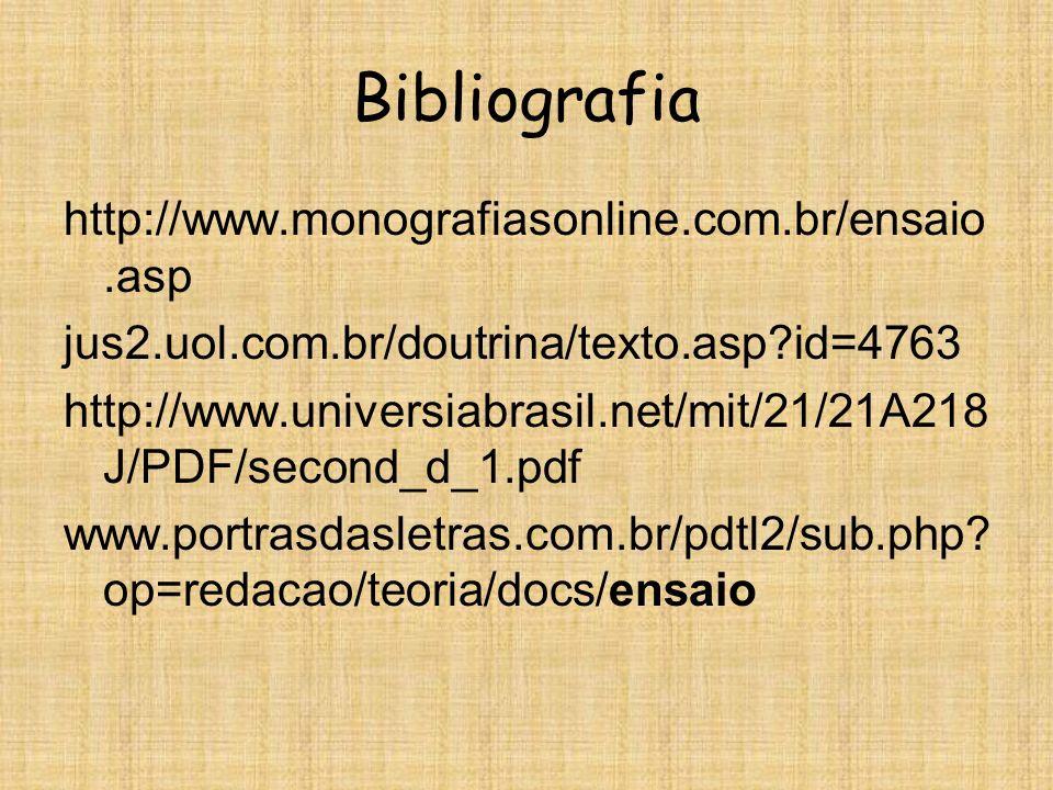 Bibliografia http://www.monografiasonline.com.br/ensaio.asp